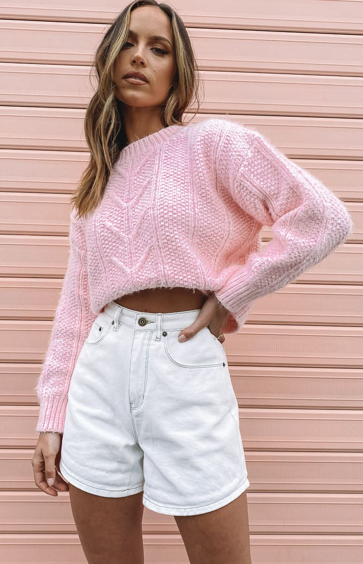 Aamina Cable Knit Jumper Pink
