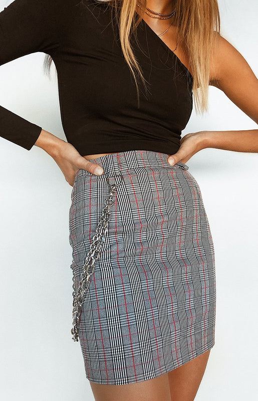 Tina Chain Skirt Grey and Red Plaid