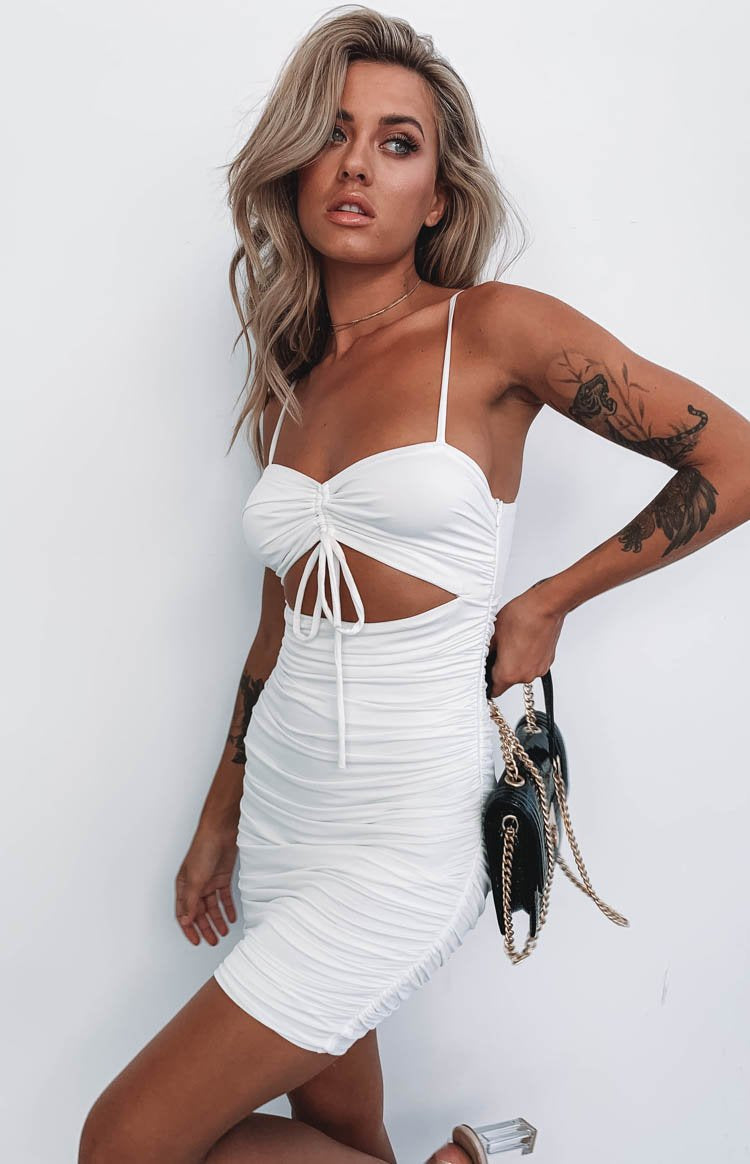 Alana Ruched Dress White