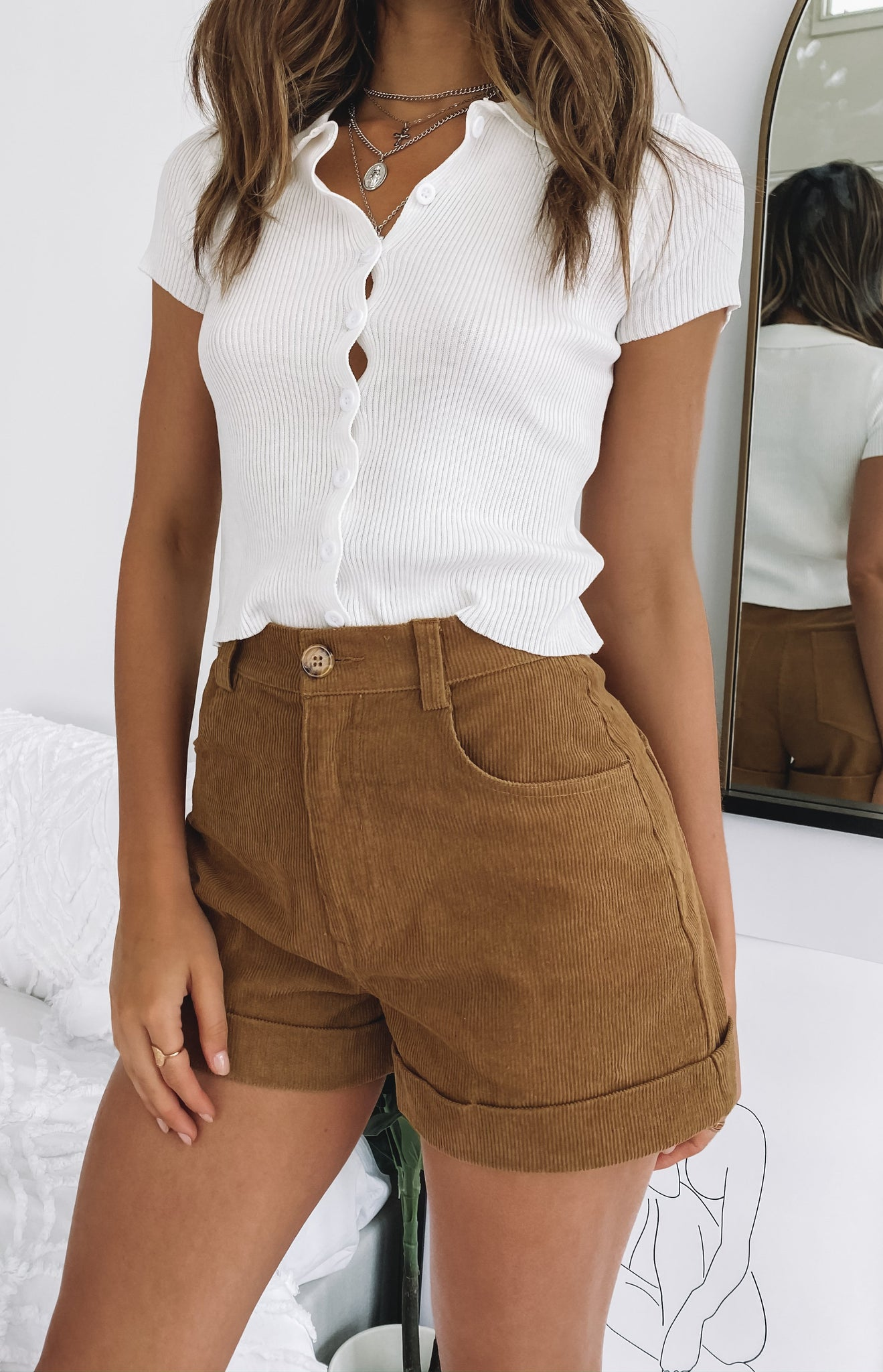 Beyond Her Alanis Cord Shorts Tan