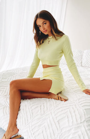 All Mine Long Sleeve Knit Crop Yellow