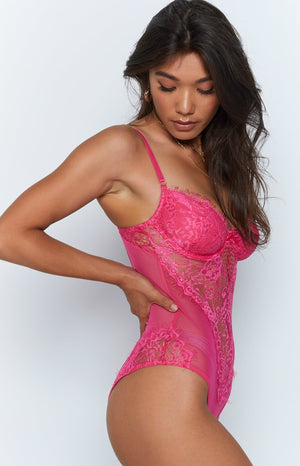 Allure Lace Bodysuit Hot Pink