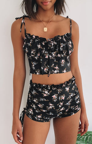Angie Lace Tie Side Shorts Black Floral