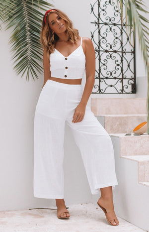 Ava High Waist Linen Pants White