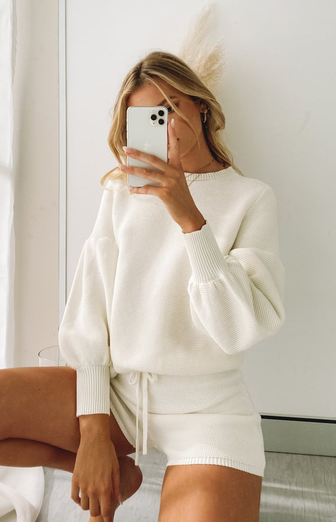 Berkley Ballon Knit Sweater Cream 16