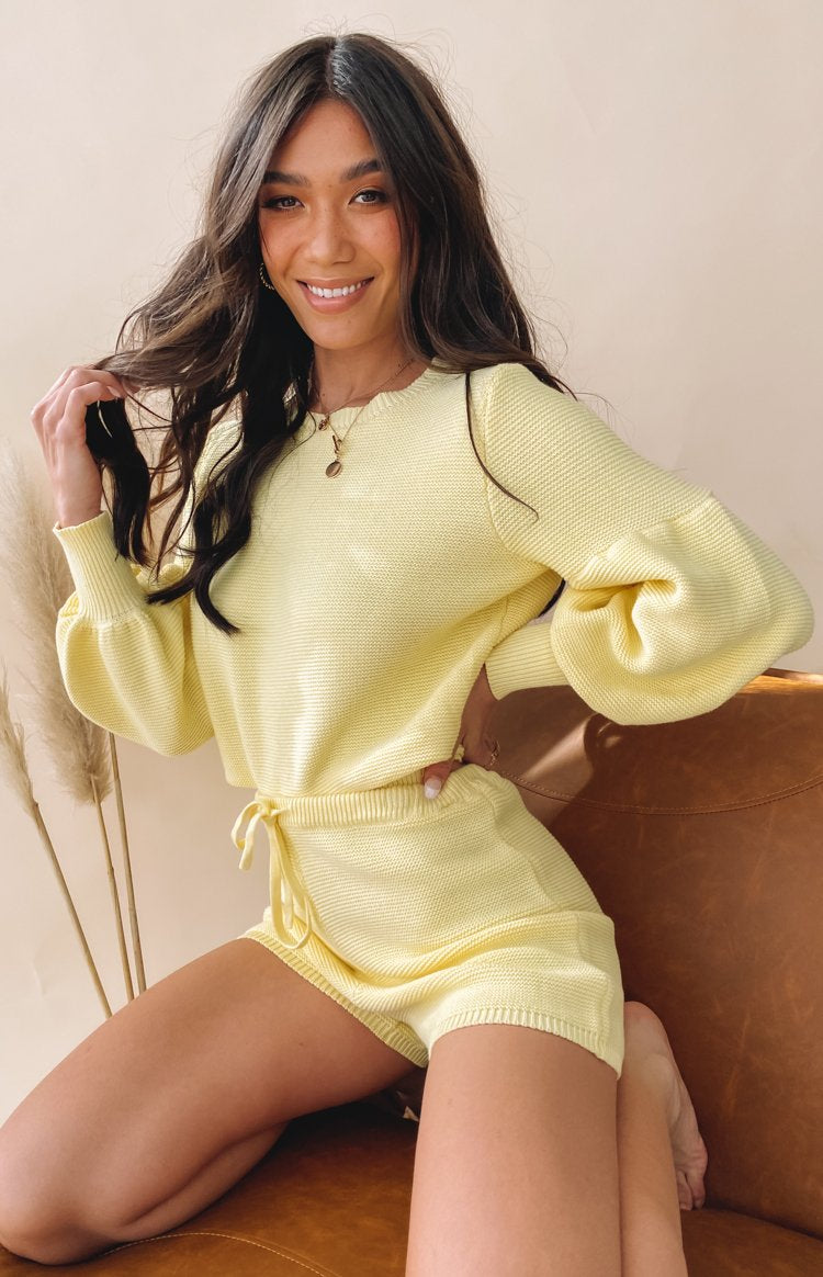 Berkley Ballon Knit Sweater Yellow