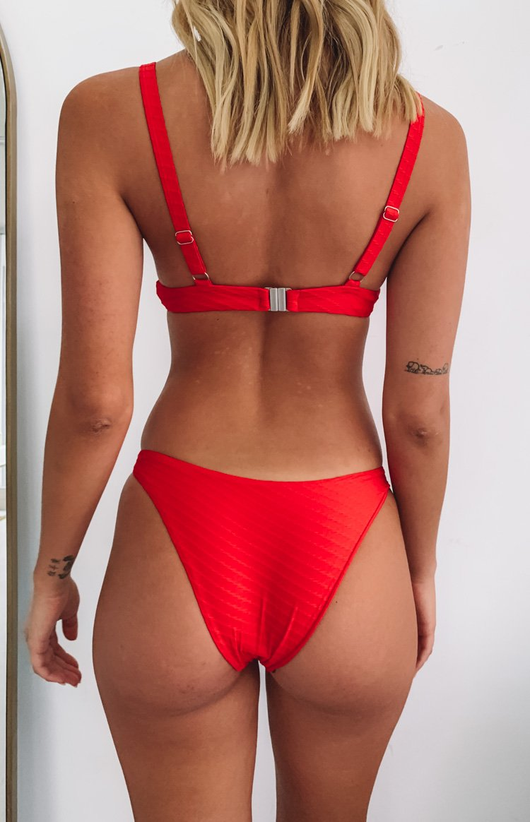 Beyond Her Shea High Leg Bikini Bottoms Cherry