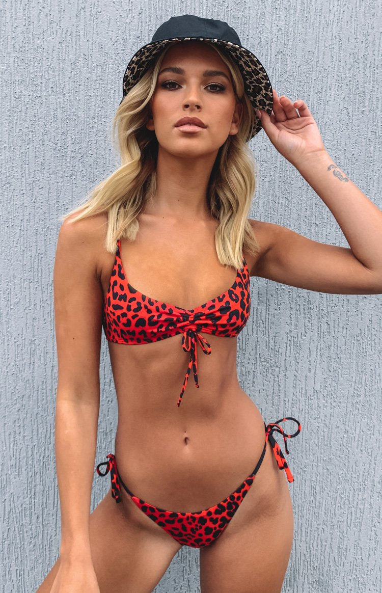 Beyond Her Marisole Tie Bikini Top Red Leopard