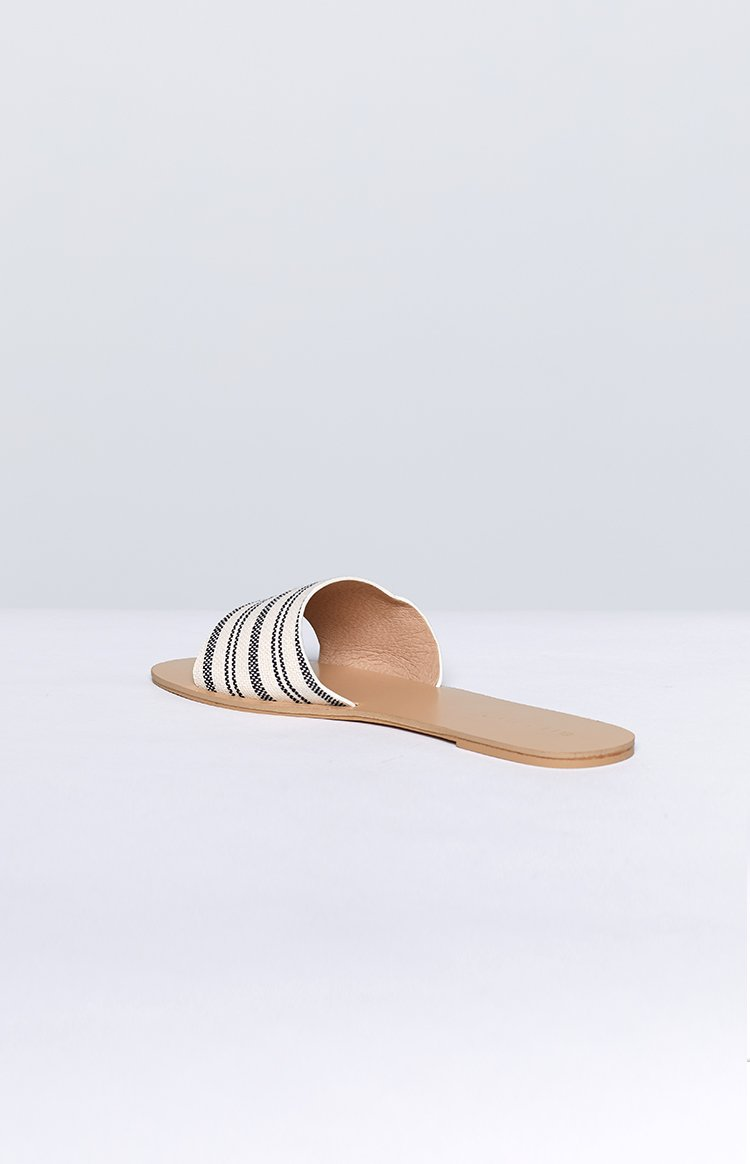 Billini Crete Slides Black with Beige Stripe