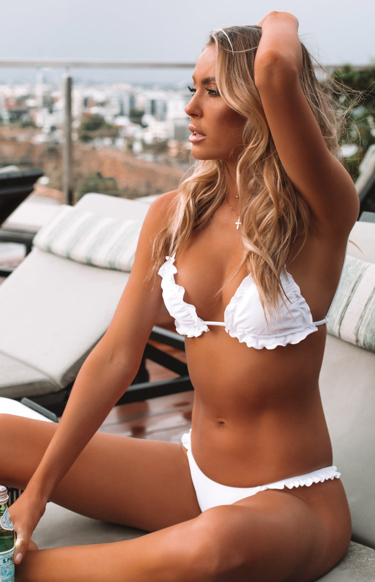 9.0 Swim Billy Frill Triangle Bikini Top White