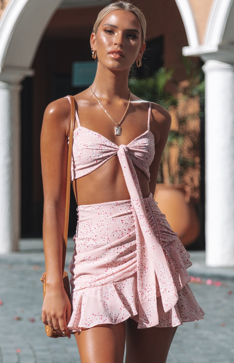Bold Type Crop Top Pink Floral