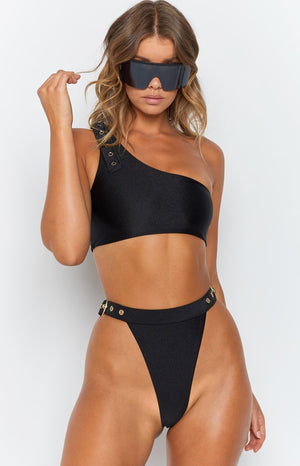 9.0 Swim Cabana Bikini Bottoms Metallic Black