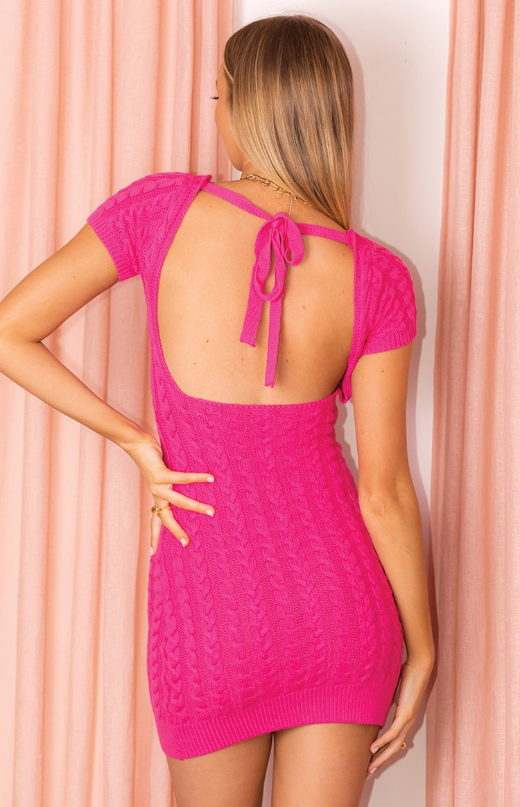 color-pink Cable Mini Dress Pink