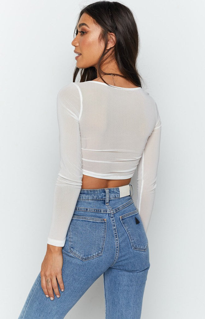 Calabria Long Sleeve Crop White 8