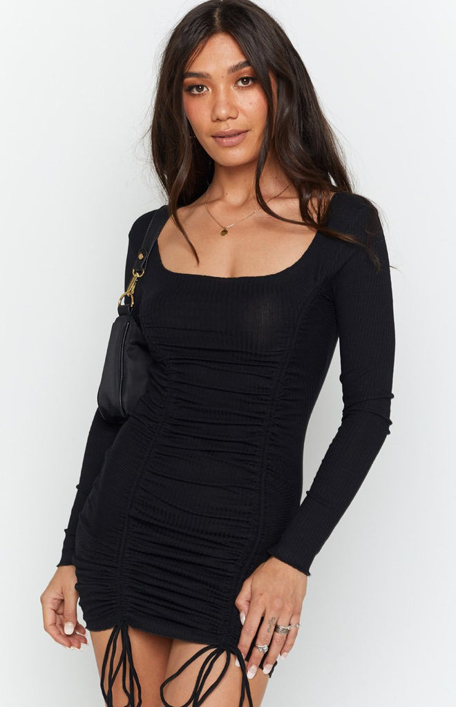 Carla Ruched Long Sleeve Dress Black 5