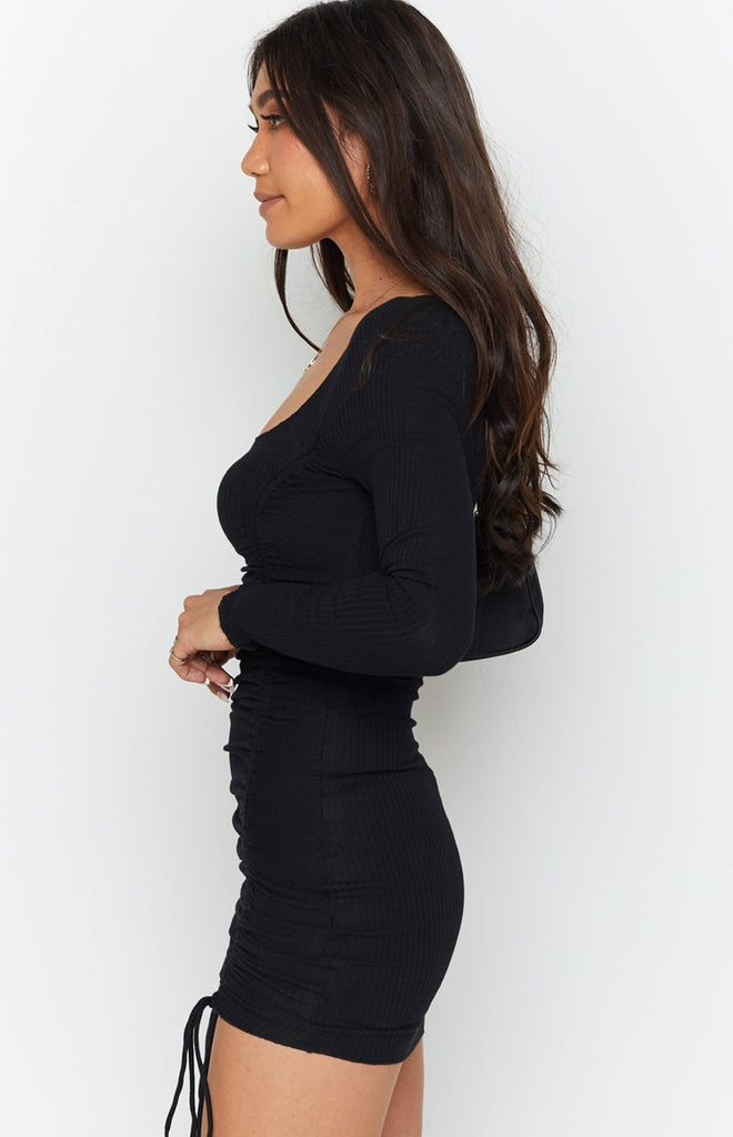 Carla Ruched Long Sleeve Dress Black 6