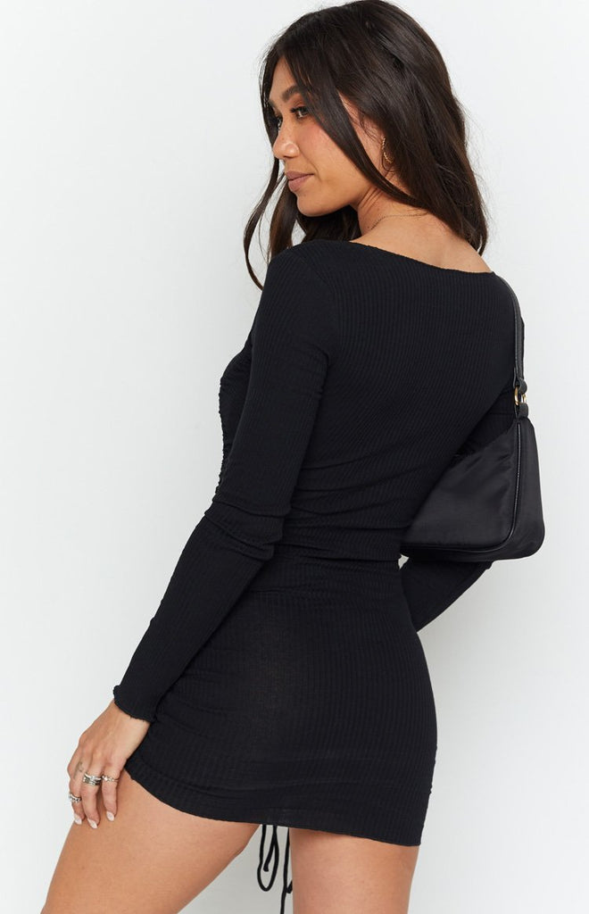 Carla Ruched Long Sleeve Dress Black 7