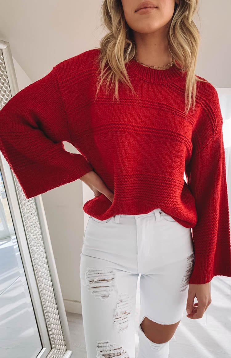 Carmody Knitted Jumper Red
