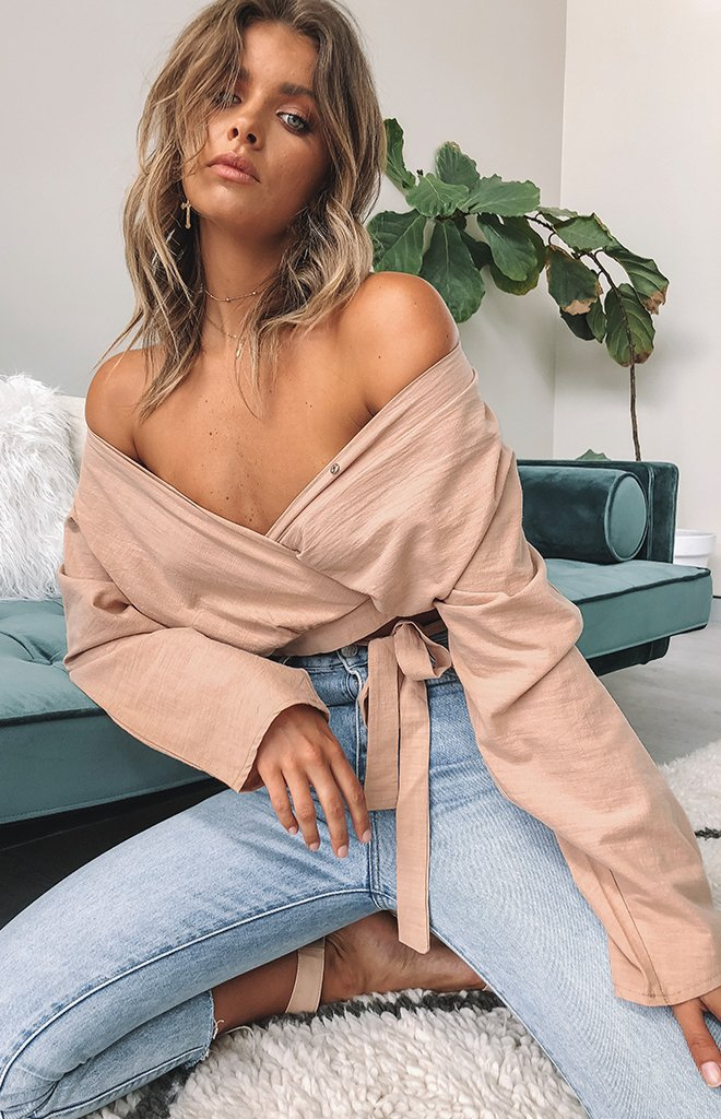 Caroline Tie Up Top Beige