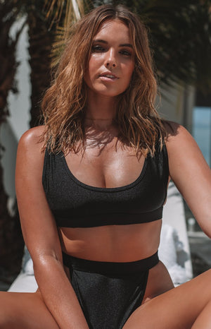 9.0 Swim Cayman Bikini Top Metallic Black