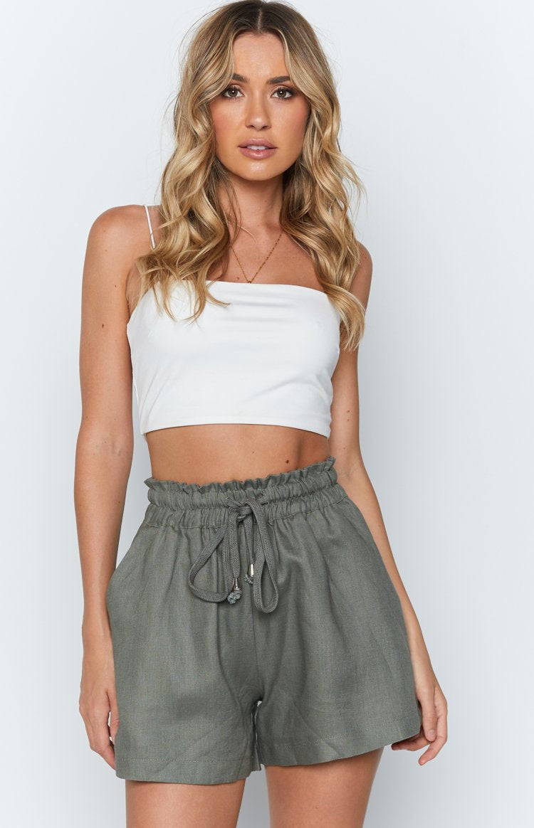 Chantel Linen Shorts Khaki