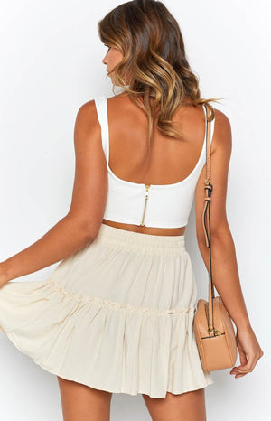 Chels Zip Crop White