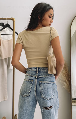Crush On You Snap Tee Beige
