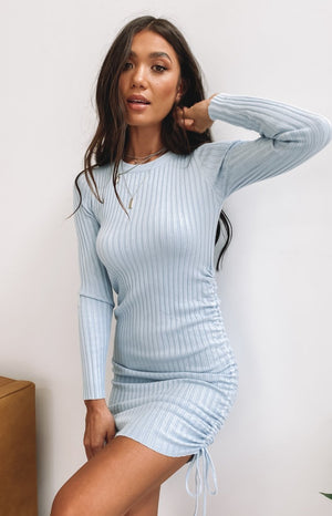 Curved Long Sleeve Ribbed Dress Blue