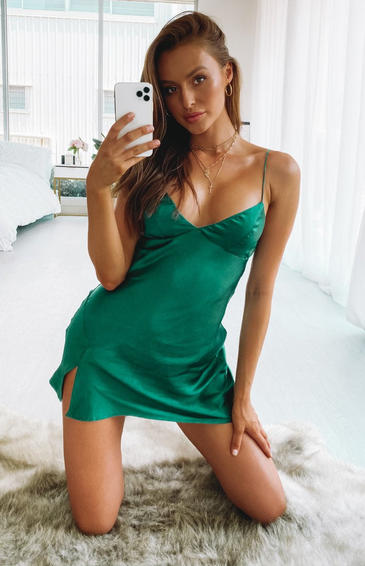 Dorine Satin Mini Dress Teal