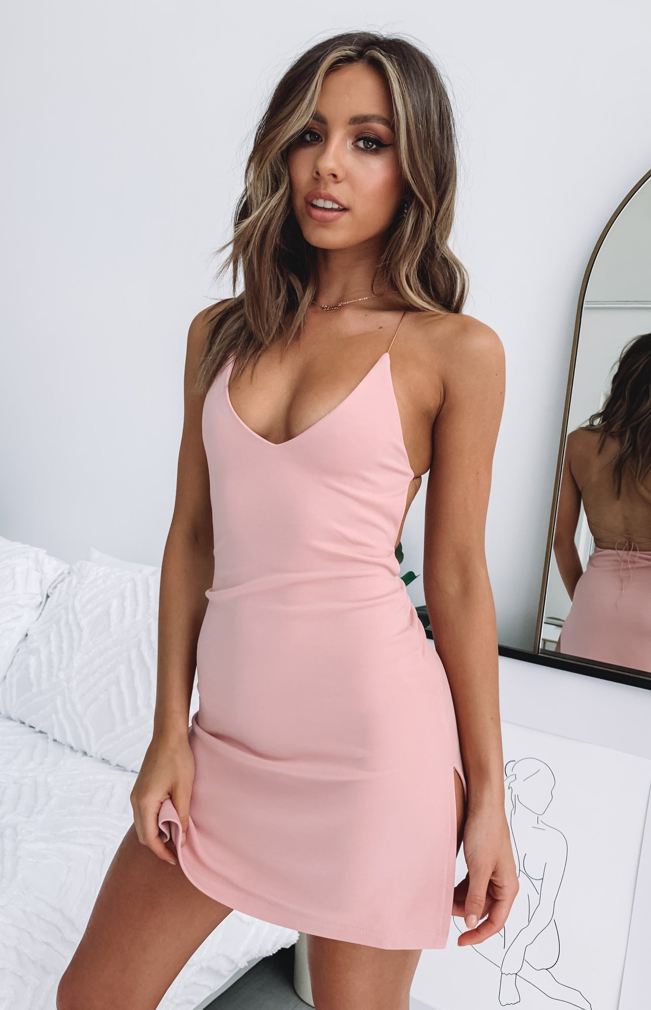 Delilah Dress Dusty Pink