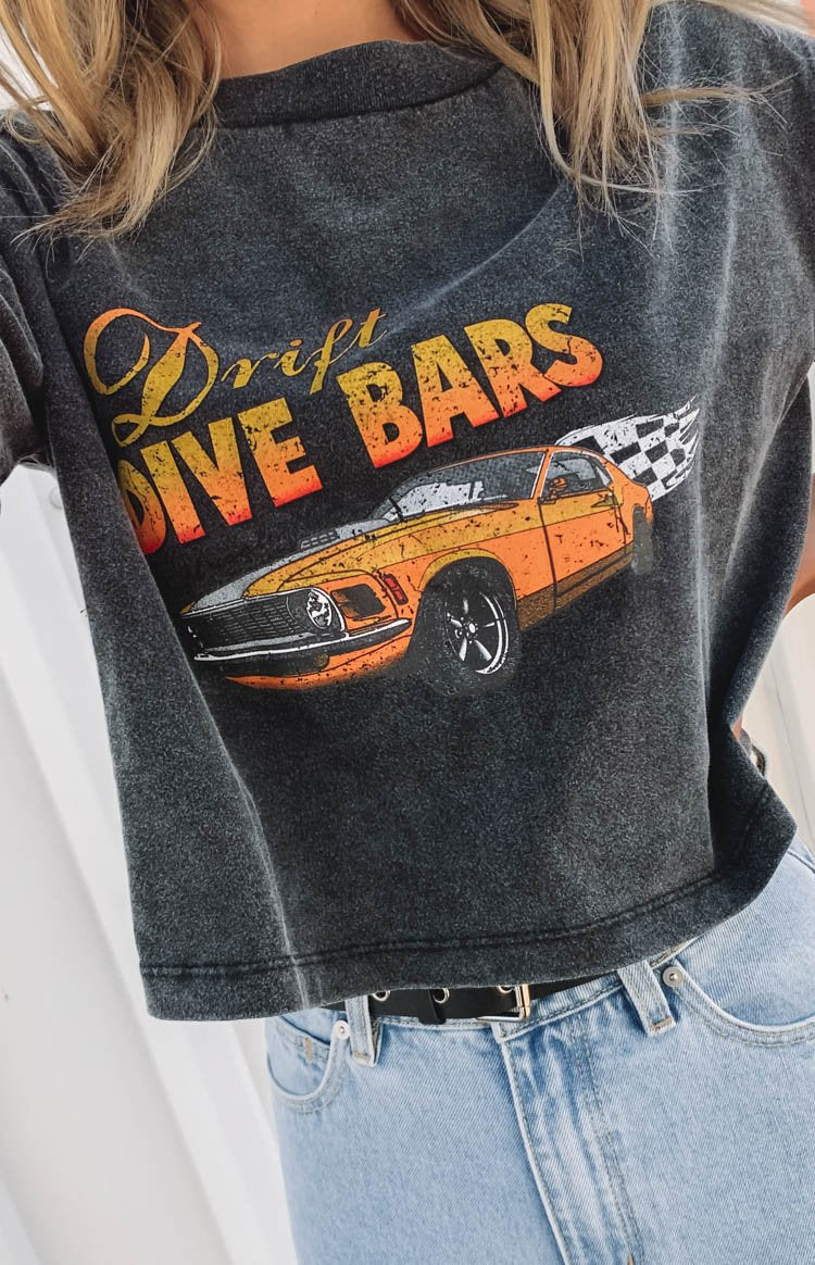 Dive Bar Cropped Boxy Tee Black Acid Wash