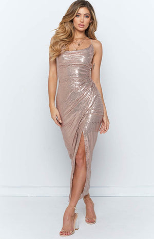 Dynasty Maxi Dress Rose Gold