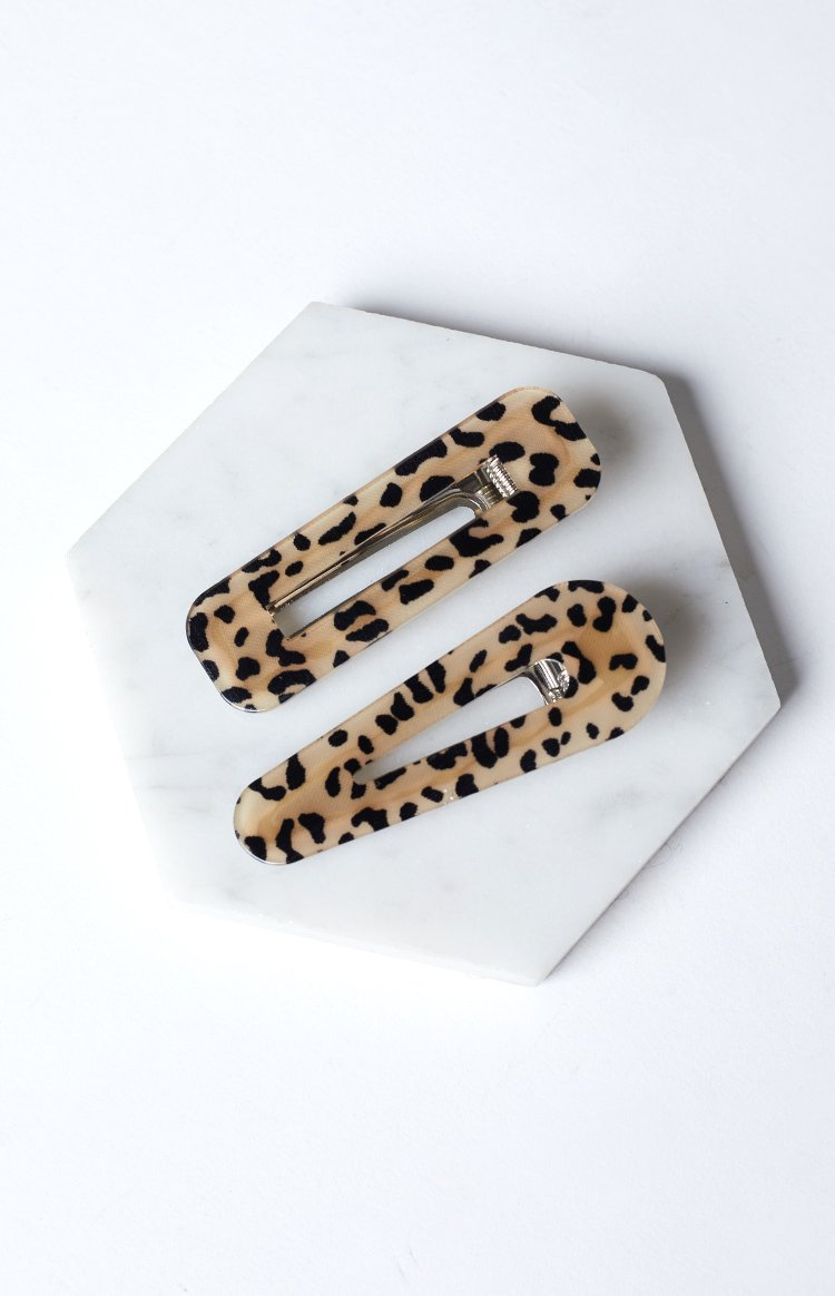 Eclat Hair Clip Set Brown Leopard 2 Pcs