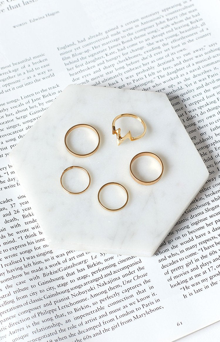 Eclat Classica 5 Piece Ring Set Gold