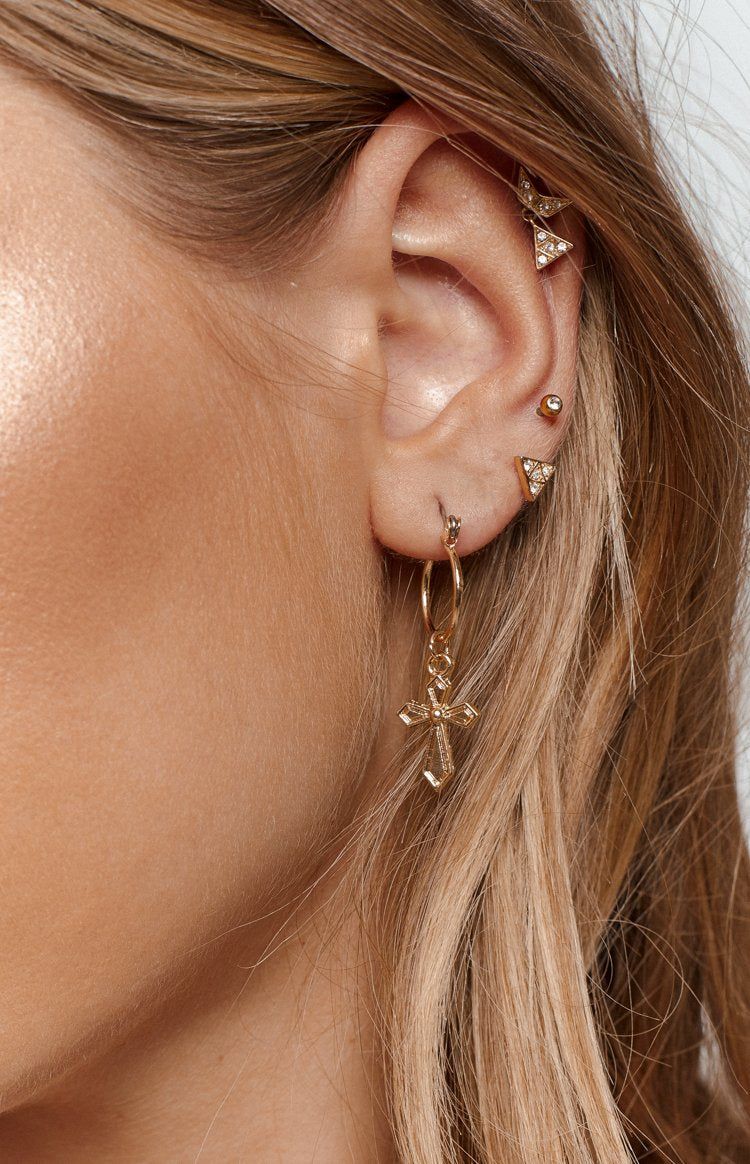 Eclat Java Cross Earrings Gold