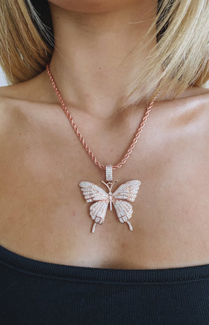 Eclat Rose Well Butterfly Necklace Pink