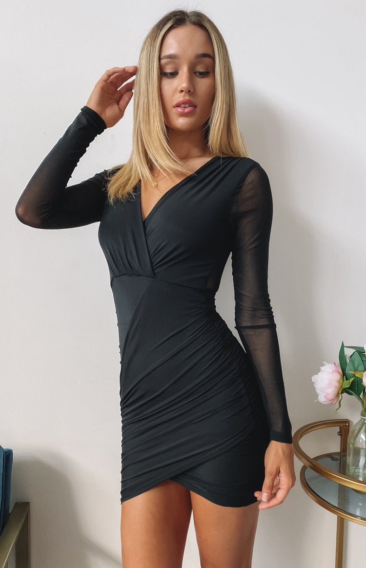 color-black Elevated Long Sleeve Party Dress Black