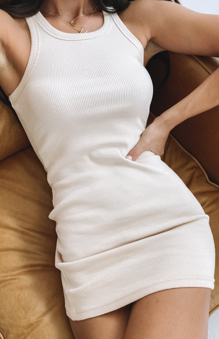 Eliza Ribbed Dress Beige