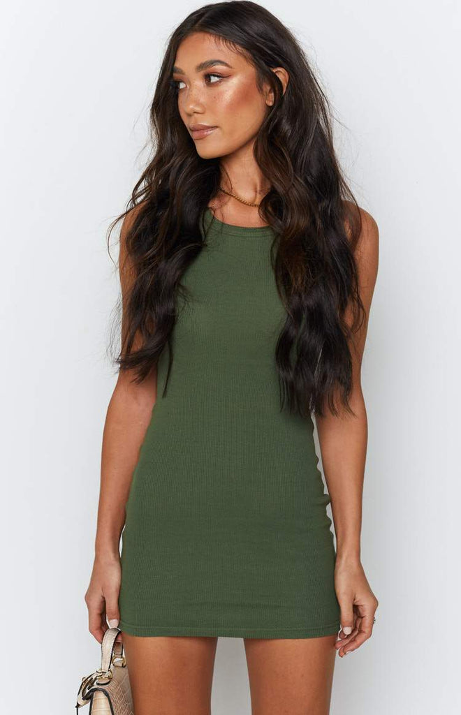 Eliza Ribbed Dress Khaki 2