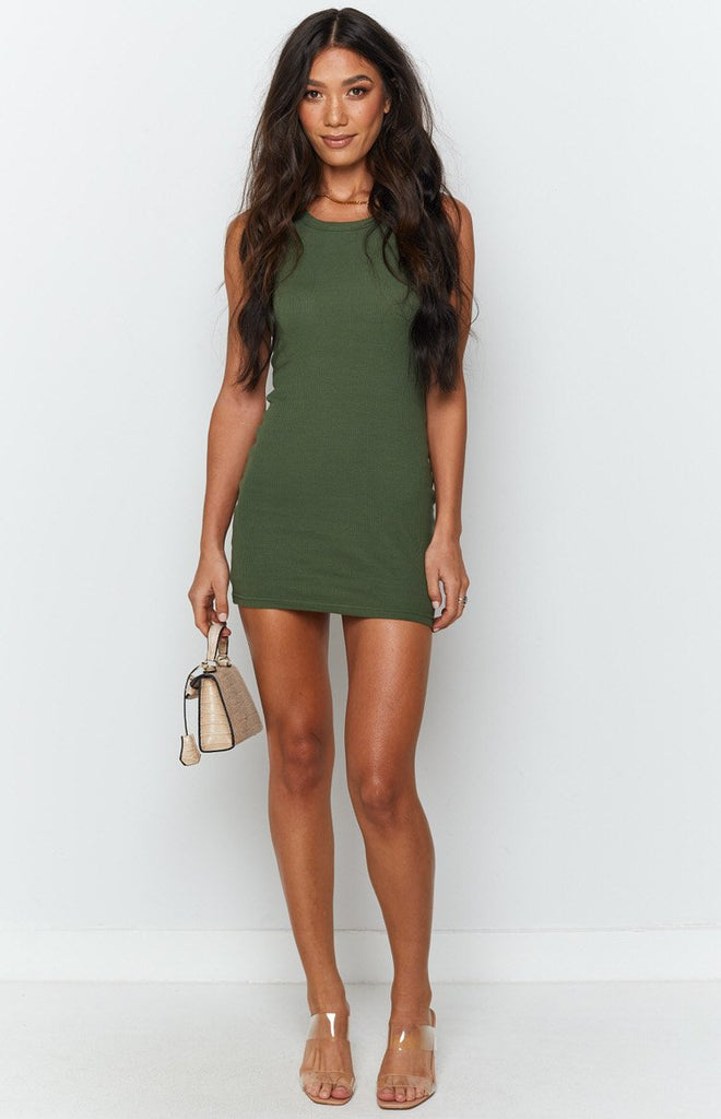 Eliza Ribbed Dress Khaki 3