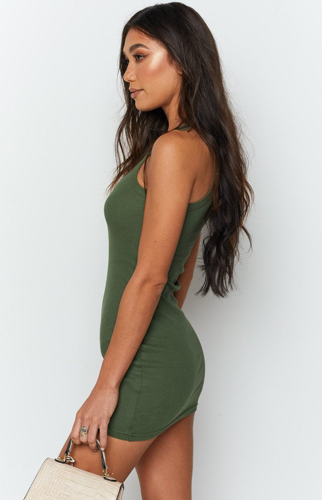 Eliza Ribbed Dress Khaki 4
