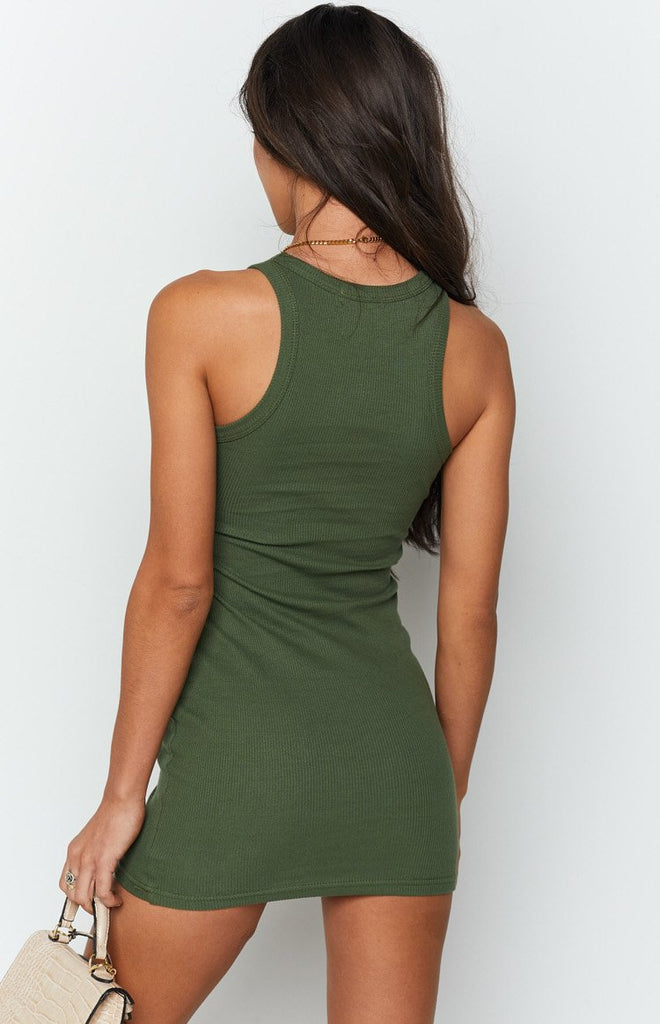 Eliza Ribbed Dress Khaki 5