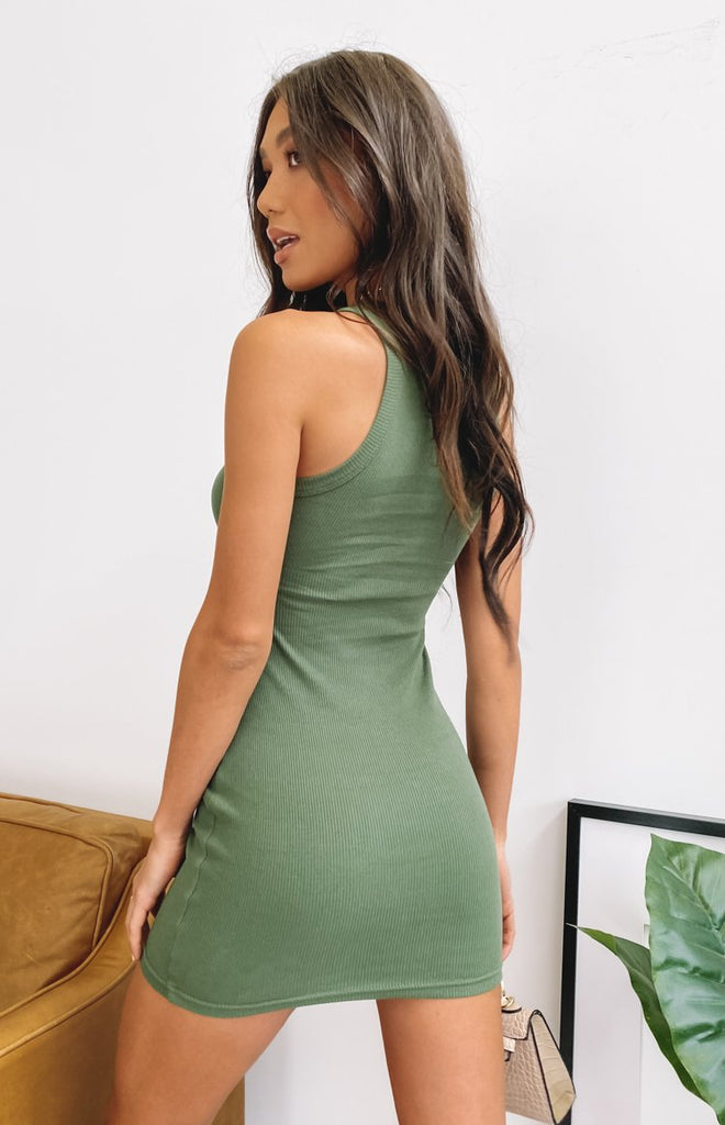 Eliza Ribbed Dress Khaki 7