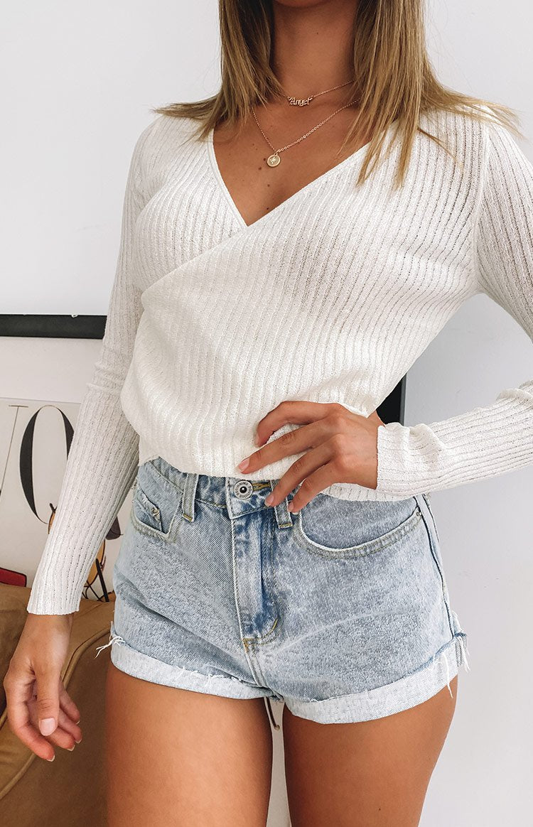 color-white Evergreen Cross Front Ribbed Top White