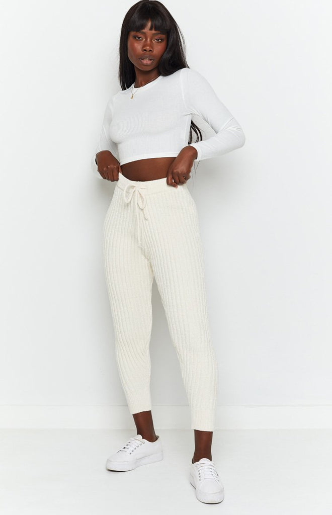Fantasy Ribbed Pants Beige 4