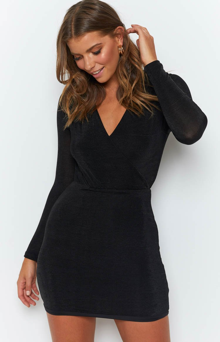 Focus On Me Long Sleeve Dress Black