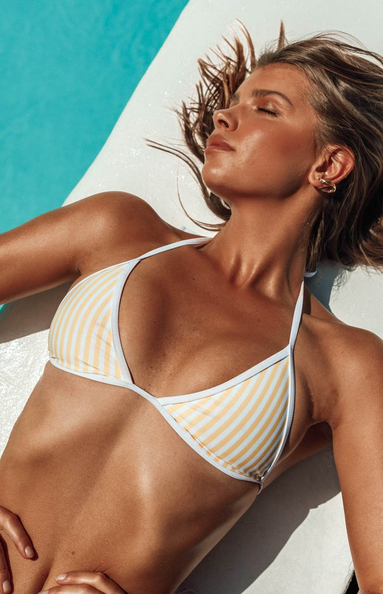 9.0 Swim Fraser Triangle Bikini Top Yellow & White Stripe
