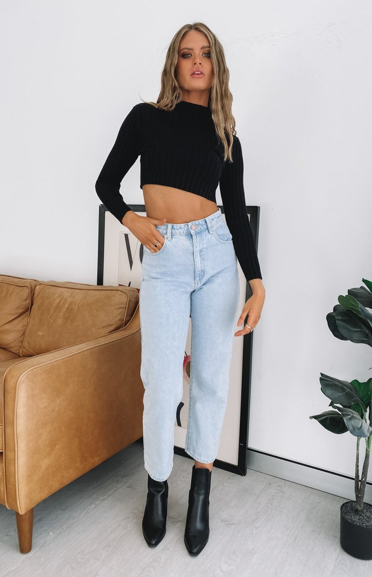 Gem Belle Long Sleeve Crop Top Black