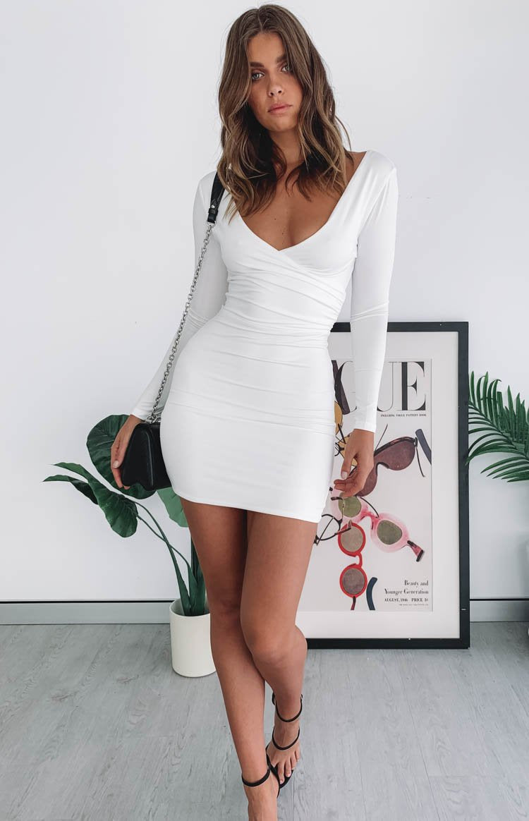 Grande Long Sleeve Party Dress White
