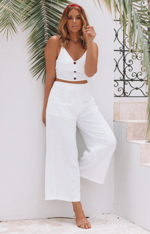 Hayley Linen Crop White